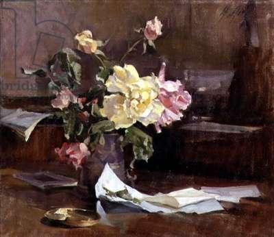 Autumn Roses (oil on canvas)