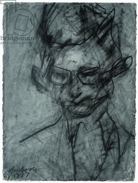 Portrait of Christopher Dark, 1977 (chalk & charcoal on paper)