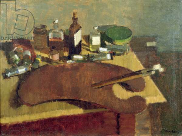 Artist's Materials on a Table, 1953 (oil on canvas)