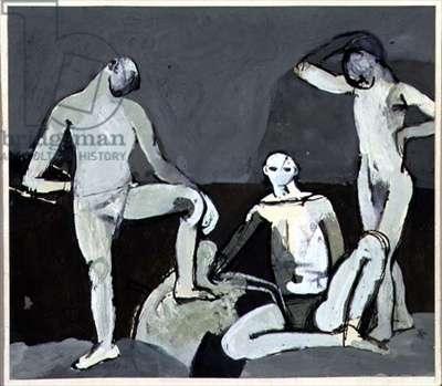 Grey Figures (oil on canvas)
