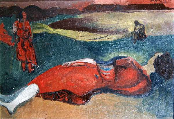 Sketch for Reclining Woman (oil on canvas)