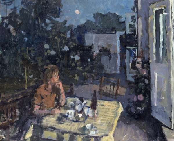 The Artist's Wife in his Garden at Kew (Evening) (oil on canvas)