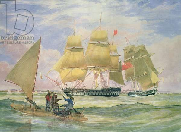 HM Ships 'Ganges' and 'Sapphire' off Pernambuco, 1829 (w/c on paper)