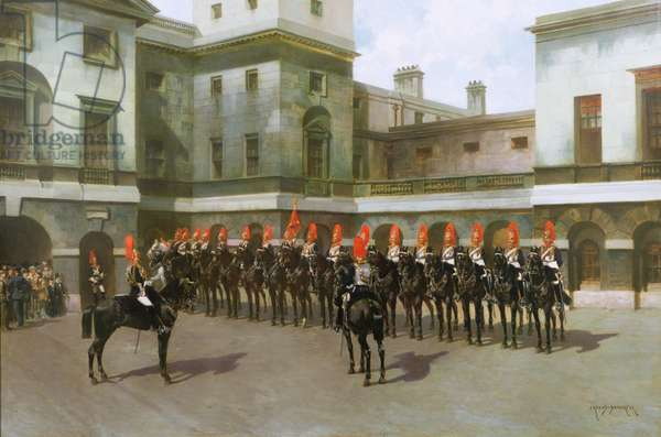 The Blues and Royals, Guard Mounting Parade, Whitehall (oil on canvas)
