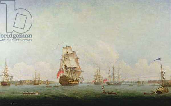 Victory leaving Portsmouth (oil on canvas)