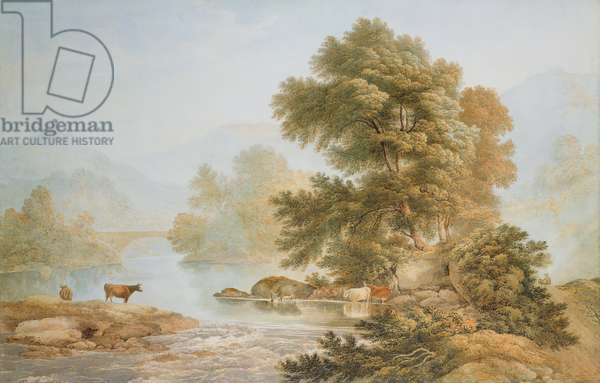 Cattle Watering at a River (w/c on paper)