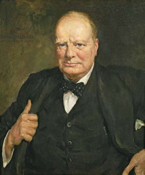 Portrait of Sir Winston Churchill (1874-1965) (oil on canvas)