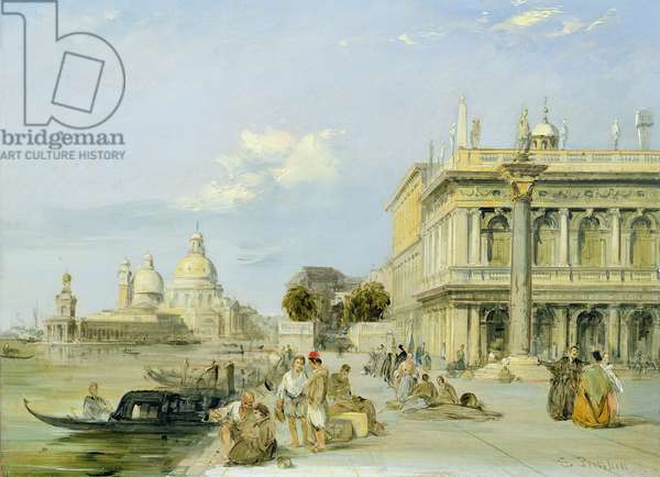 View of the Dogana and Santa Maria della Salute from the Piazzetta, Venice (oil on canvas) (pair of 94868)