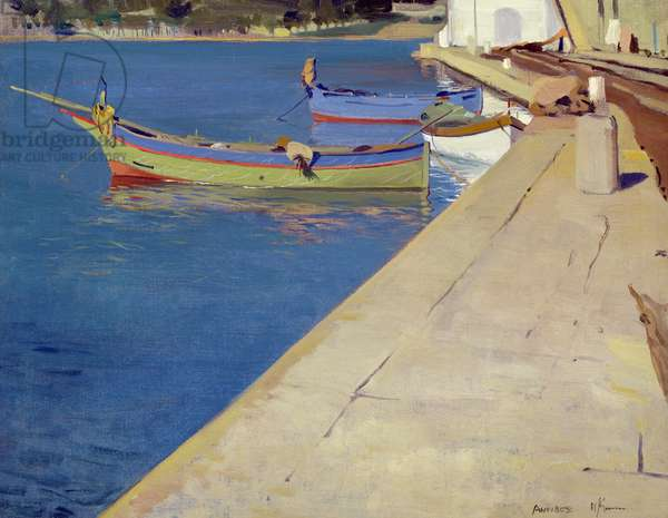 Fishing boats in harbour at Antibes (oil on canvas)