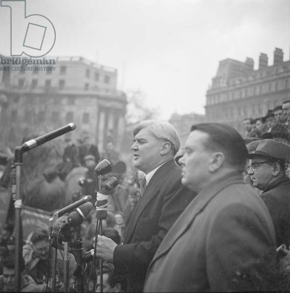 Aneurin Bevan protesting at the invasion of Suez, 1956 (b/w photo)