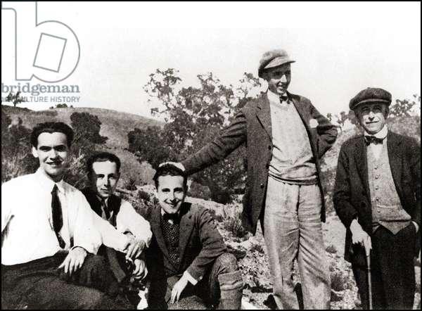 Federico Garcia Lorca avec Rafael Aguado, Antonio Luna, Jose Segura et Manuel de Falla, 1931