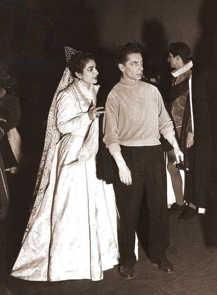 Maria Callas with Herber von Karajan for the opera 'Lucia di Lammermoor', by Donizetti, Milan, January 1954 (b/w photo)