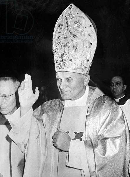 Rome, le 17/10/1978. Le cardinal polonais, Karol WOJTYLA, nouveau Pape Jean Paul II, pendant la messe célébrée avec les cardinaux dans la Chapelle Sixtine, après la fermeture du Conclave qui l'a élu comme pape.