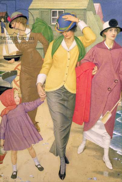Along the Shore, 1914 (tempera on silk)
