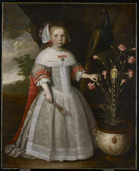 Portrait of a Young Girl with Carnations, c.1663 (oil on canvas)