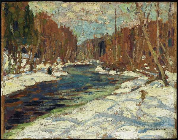 Stream in the Woods, 1914 (oil on wood)