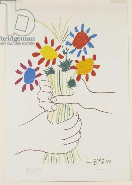 Fleurs et mains, 1958 (colour litho on wove paper)