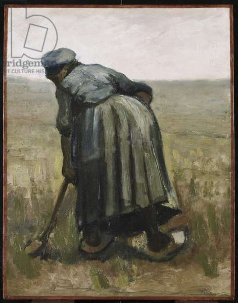 A woman with a spade, seen from behind, 1885 (oil on canvas on wood panel)