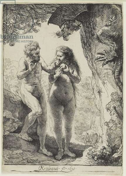 Adam and Eve, 1638 (etching on laid paper)