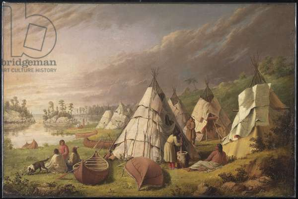 Indian Encampment on Lake Huron, c.1845 (oil on canvas)