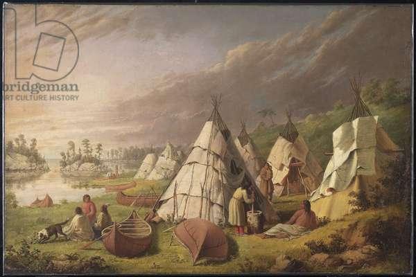 Indian Encampment on Lake Huron, c.1845 (oil on canvas)