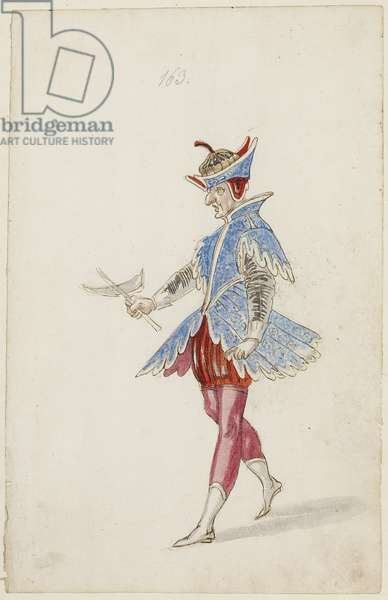 Male figure in a blue and red costume from the Ballet des quatre saisons de l'Annee, 1626 (brown ink, w/c & metallic paint over an underdrawing of black chalk on laid paper)