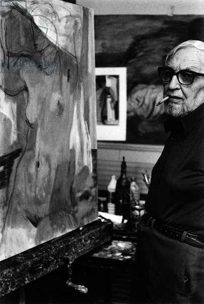 Portrait of the painter Jean Souverbie (1891-1981) in 1974.