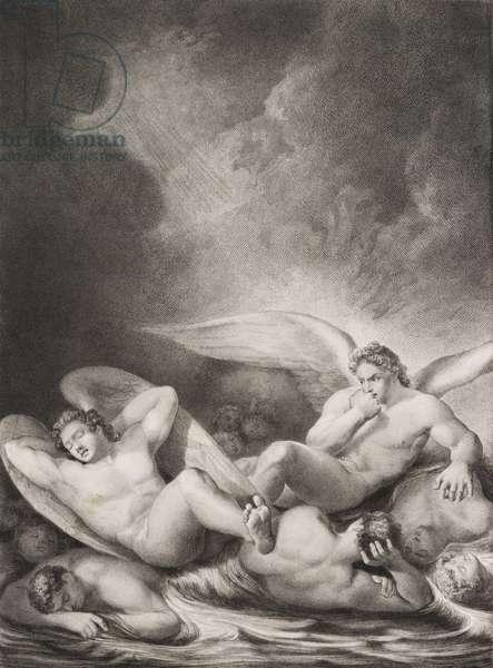 """Anges dans le lac de bitume Gravure tiree de """"""""Le paradis perdu"""""""" de John Milton (1608-1674) traduit par Chateaubriand, 1868"""