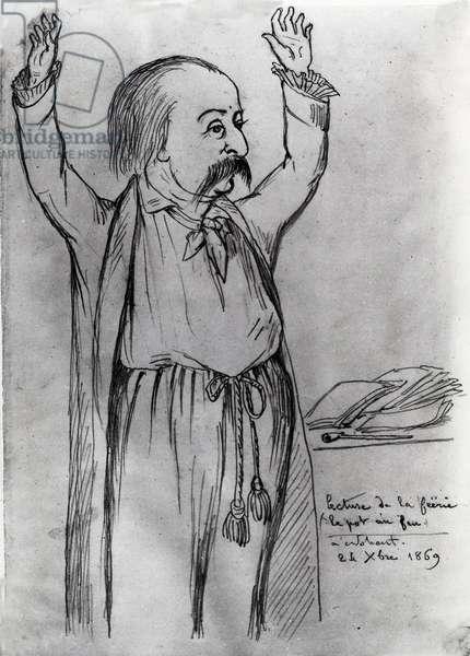 """Portrait de Gustave Flaubert (1821-1880), ecrivain francais, lors de la lecture de la """"""""Feerie, le royaume du pot au feu"""""""" , le 24 decembre 1869 - dessin a l'encre de Maurice Sand (1823-1889) 1869"""