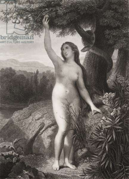 """Eve cueillant la pomme Gravure tiree de """"""""Le paradis perdu"""""""" de John Milton (1608-1674) traduit par Chateaubriand, 1868"""