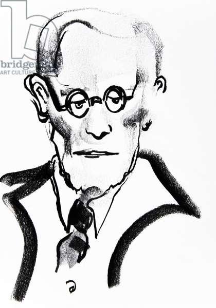 Sigmund Freud (1856-1939), neurologist and psychotherapist - dessin de Ewa KLOS