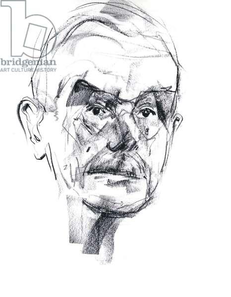 Portrait de Thomas Mann (1875-1955), ecrivain allemand - dessin de Ewa KLOS