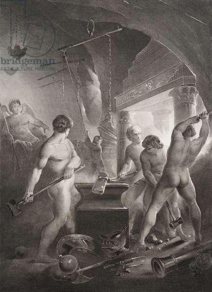 """Les forges Gravure tiree de """"""""Le paradis perdu"""""""" de John Milton (1608-1674) traduit par Chateaubriand, 1868"""
