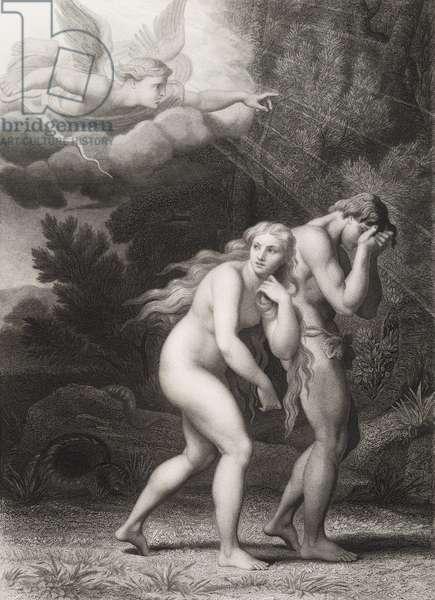 """Adam et Eve chasses du Paradis Gravure tiree de """"""""Le paradis perdu"""""""" de John Milton (1608-1674) traduit par Chateaubriand, 1868"""