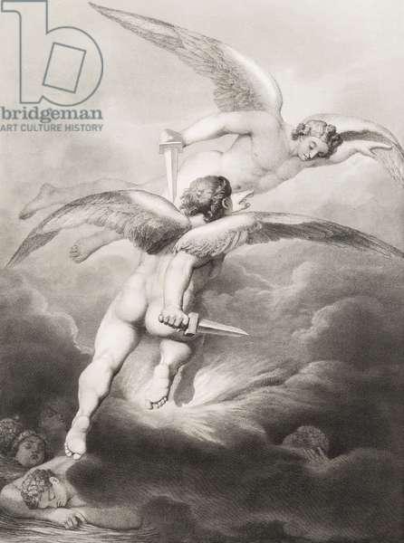 """Satan et Belzebuth Gravure tiree de """"""""Le paradis perdu"""""""" de John Milton (1608-1674) traduit par Chateaubriand, 1868"""