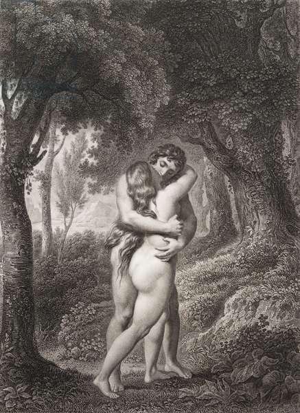 """Le premier baiser d'Adam et Eve Gravure tiree de """"""""Le paradis perdu"""""""" de John Milton (1608-1674) traduit par Chateaubriand, 1868"""