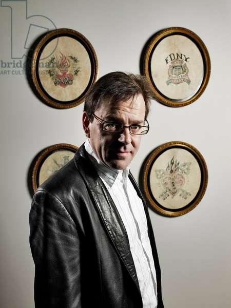 Portrait of Wim Delvoye (artist) in his studio - April 2009