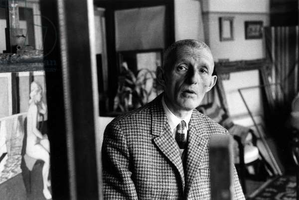Portrait of the painter Maurice Brianchon (1899-1979) in Paris in 1964 (b/w photo)