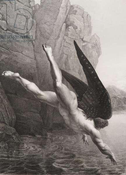 """Satan plongeant dans le styx Gravure tiree de """"""""Le paradis perdu"""""""" de John Milton (1608-1674) traduit par Chateaubriand, 1868"""