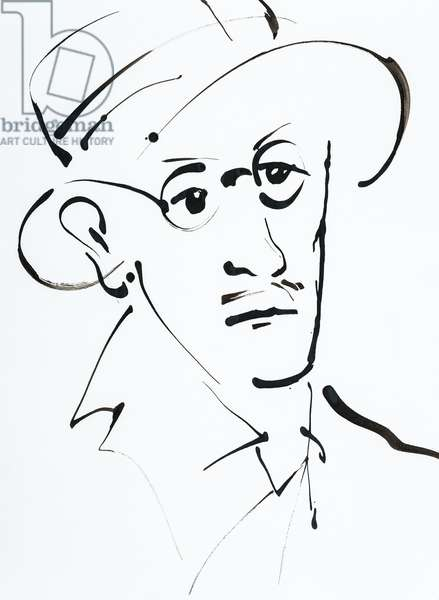 Portrait de James Joyce (1882-1941), romancier et poete irlandais - dessin de Ewa KLOS