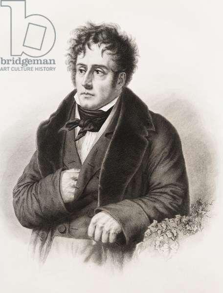 Portrait de Francois Rene, Vicomte de Chateaubriand (1768-1848) ecrivain francais Gravure du 19eme siecle