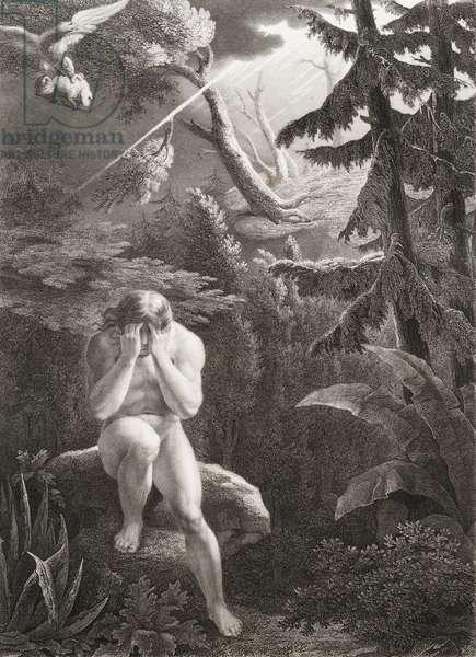"""Adam apres le peche originel Gravure tiree de """"""""Le paradis perdu"""""""" de John Milton (1608-1674) traduit par Chateaubriand, 1868"""
