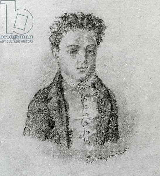 Portrait de Gustave Flaubert (1821-1880), ecrivain francais. Dessin de E. Langlois, en 1838