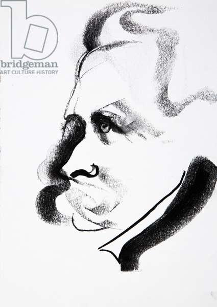 Portrait de Friedrich Nietzsche (1844-1900), philosophe allemand - dessin de Ewa KLOS