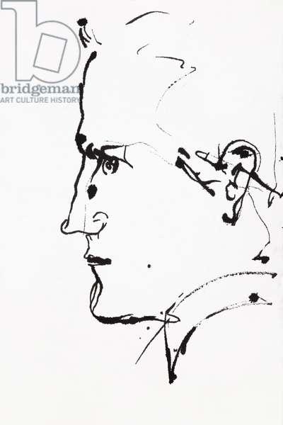 Portrait de Francis Scott Fitzgerald (1896-1940), ecrivain americain - dessin de Ewa KLOS