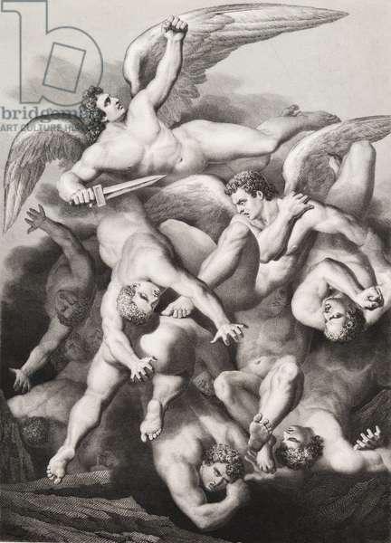 """La chute des anges Gravure tiree de """"""""Le paradis perdu"""""""" de John Milton (1608-1674) traduit par Chateaubriand, 1868"""