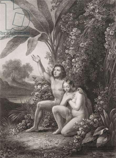 """La priere Gravure tiree de """"""""Le paradis perdu"""""""" de John Milton (1608-1674) traduit par Chateaubriand, 1868"""