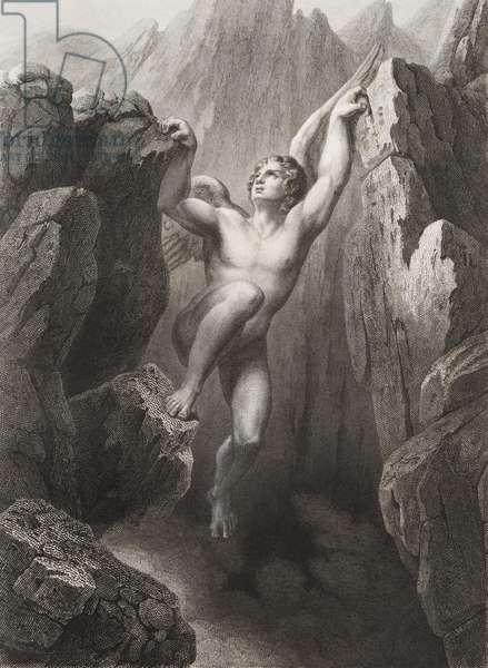 """Satan sort du gouffre Gravure tiree de """"""""Le paradis perdu"""""""" de John Milton (1608-1674) traduit par Chateaubriand, 1868"""