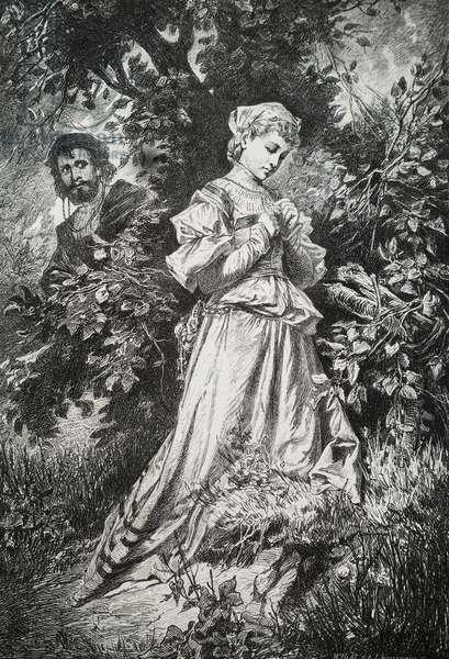 """Illustration tiree de """"""""Faust"""""""" de Johann Wolfgang von Goethe (1749-1832) par Alexander Liezen-Mayer (1839-1898) 1873"""
