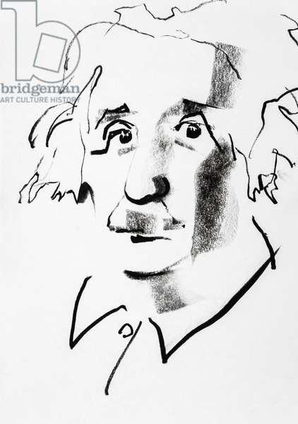 Portrait de Albert Einstein (1879-1955), physicien helvetico americain d'origine allemande - dessin de Ewa KLOS